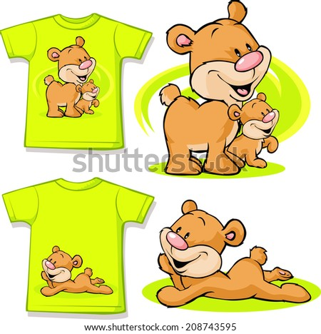 kid shirt with cute bear in love printed - isolated on white - stock vector