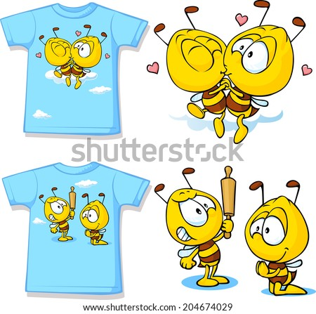 kid shirt with cute bees - isolated on white, back and front view - stock vector