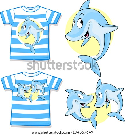 kid shirt with cute dolphin - stock vector