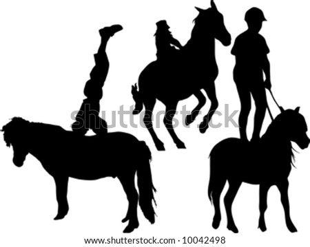 kid standing on horse silhouette