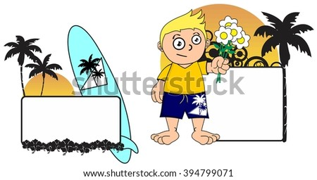 kid surfer expression cartoon copy space in vector format