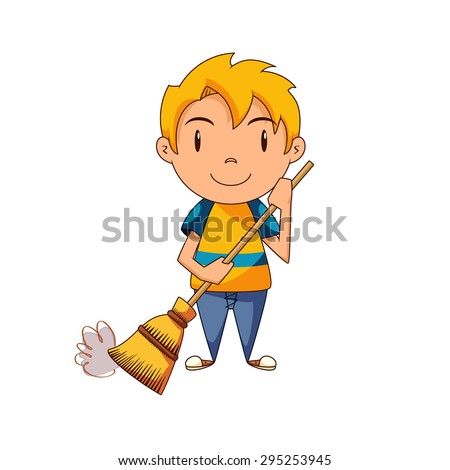 Kid sweeping, vector illustration - stock vector