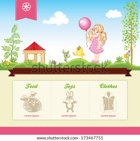 Kid template for web site with vector illustrations - stock vector