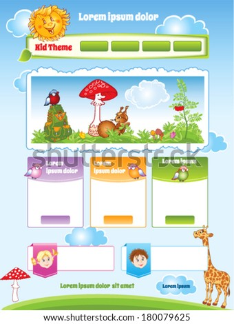 Kid theme for web template - stock vector