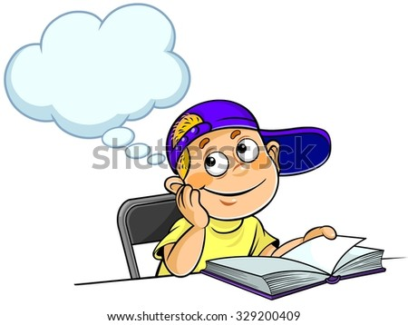 Kid Thinking with a book - stock vector