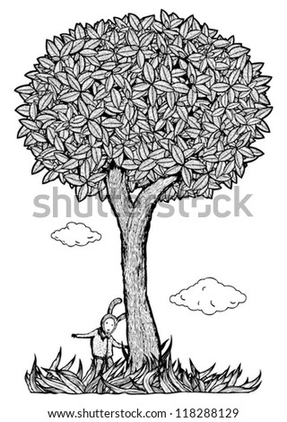 Kid under the tree vector illustration. Black and white