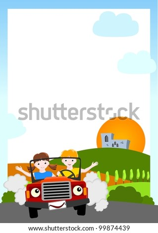 kid vector background - boy and girl in red car with medieval castle and sun - stock vector