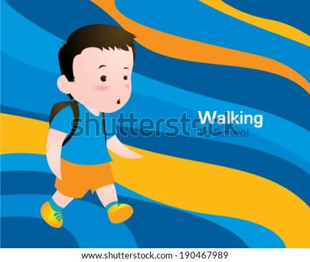 Kid Walking - stock vector