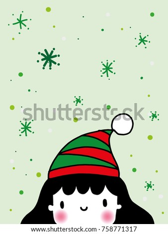 kid wear christmas hat green red stock vector 758771317 shutterstock