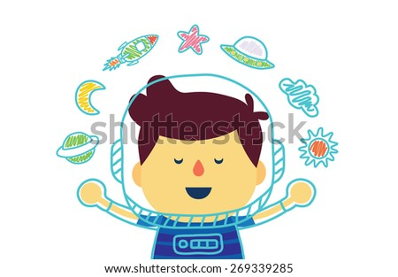 Kid who dreams of being in space with color pencil drawing : boy version - stock vector