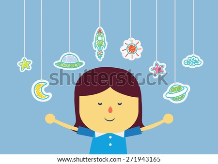 Kid who imagine about being in space with hanging by color pencil drawing, she is fun and have good progress - stock vector