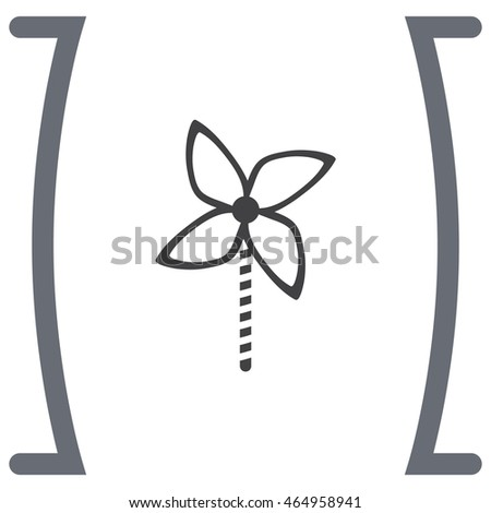 Kid windmill toy vector icon. Child toy sign. Pinwheel symbol