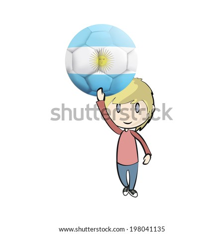 Kid with soccer ball over white background  - stock vector