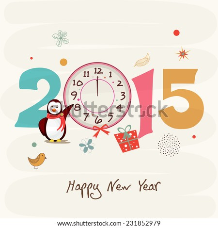 Kiddish greeting card decorated with penguin, clock showing twelve 'o' clock on abstract background for Happy New Year 2015 celebrations. - stock vector