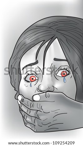 Kidnap victim, female, crying, strangers hand covering mouth, vector illustration - stock vector