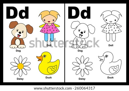 Kids Alphabet Coloring Book Page Outlined Stock Vector 260064317 ...