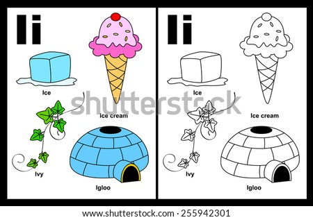 Kids alphabet coloring book page with outlined clip arts to color. Letter I  - stock vector