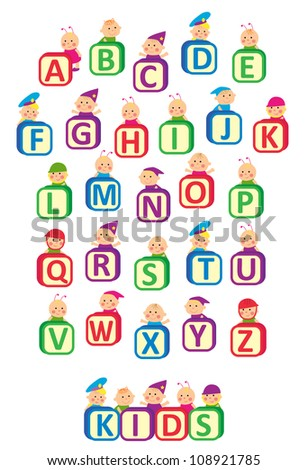 Kids alphabet design. Kids hold blocks with letters. Vector illustration - stock vector