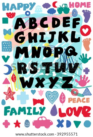 Kids Alphabet Poster For Nursery Or Childrens Room Hand Drawn Graphic Type Composition With
