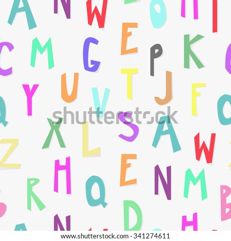 Kids alphabet seamless pattern paper cut for kids textile, wrapping, background design. Baby background, textile for child.