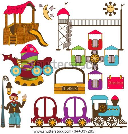 kids amusement park color set - stock vector