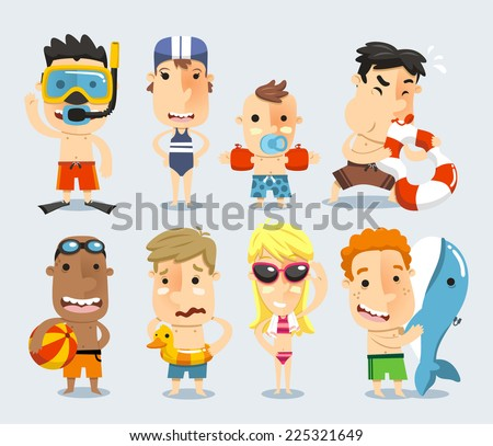 Kids and children ready for the swimming pool vector illustration. - stock vector