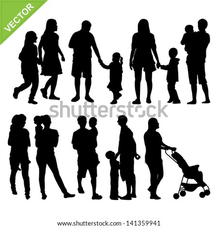 Kids and family silhouette vector - stock vector