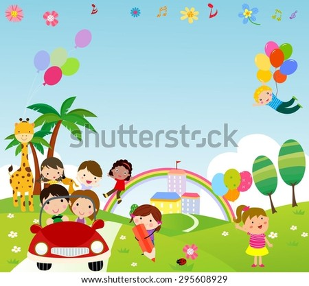Kids and frame - stock vector