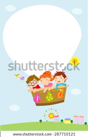 Kids and hot balloon frame - stock vector