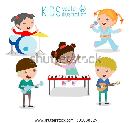 Kids and music, Children playing Musical Instruments,illustration of Kids playing different musical instruments,Vector Illustration - stock vector