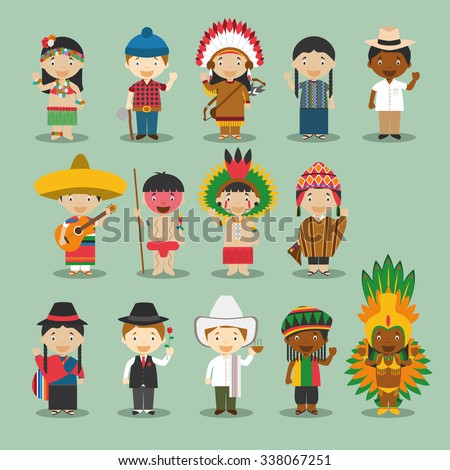 Kids and nationalities of the world vector: America Set 4. Set of 14 characters dressed in different national costumes. Canada, USA, Mexico, Cuba, Jamaica, Peru, Brazil, Argentina, Ecuador, Colombia.. - stock vector