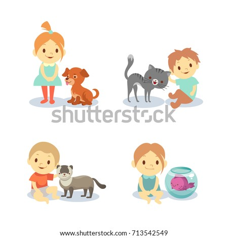 Kids and pets isolated on white background - boys and girls with animals. Dog and cat, happy child with pets. Vector illustration