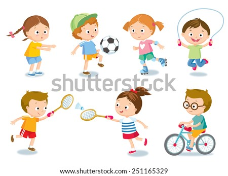 kids and sport - stock vector