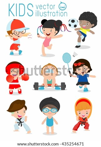 kids and sport, Kids playing various sports, Cartoon child sports,boxing, football, Taekwondo, karate, Swimming, judo,Baseball,Weight-lifting,Gymnastics, badminton, kids,children,sport - stock vector