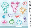 kids and summer symbols, vector hand drawn stickers - stock photo