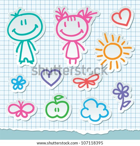 kids and summer symbols, vector hand drawn stickers - stock vector