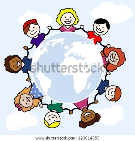Kids around a globe - stock vector