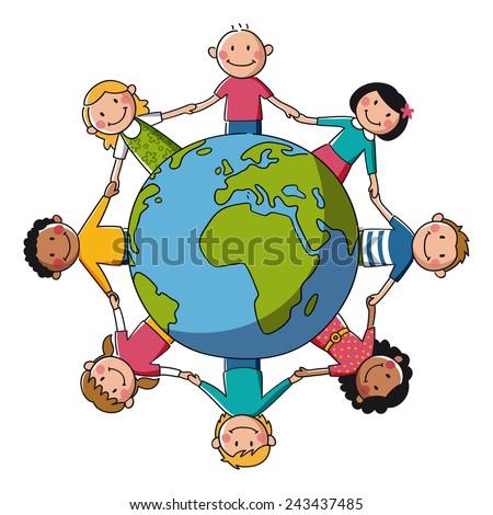 Kids around the World - Europe & Africa - Illustration - stock vector