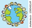 Kids around the world together save the planet earth - stock vector