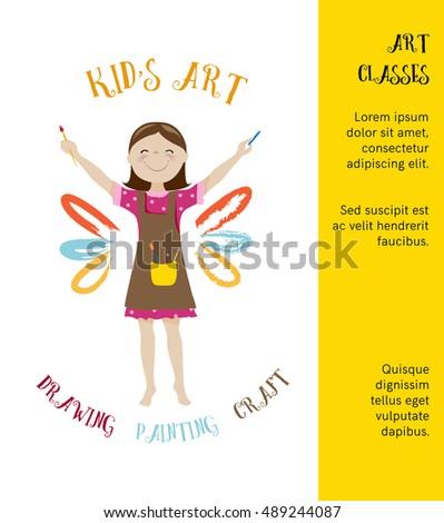 Kids art classes posterinvitation design cute stock vector royalty kids art classes posterinvitation design with cute girl artist cartoon vector stopboris Choice Image
