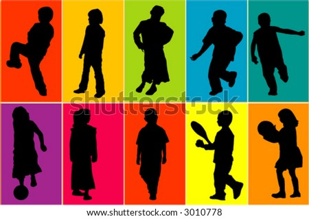 Kids at play - vectors - colors can be changed