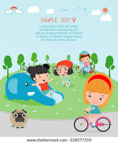 kids at playground, kids time.isolated on white background,Children playing in the playground, Vector Illustration. - stock vector
