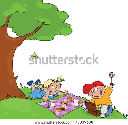 Kids at the picnic - stock vector