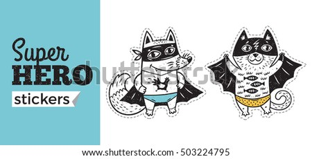 Kids badges with fox and cat in superheroes costume. Vector illustration isolated on white background. Set of stickers in cartoon comic style.