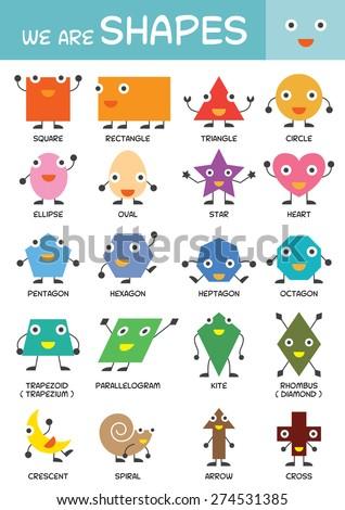 Kids Basic Shapes Chart, Kindergarten, Preschool, Kids, Education, Learning and Study Concept - stock vector