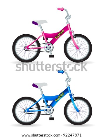 Kids bicycles, blue and pink, isolated vector - stock vector