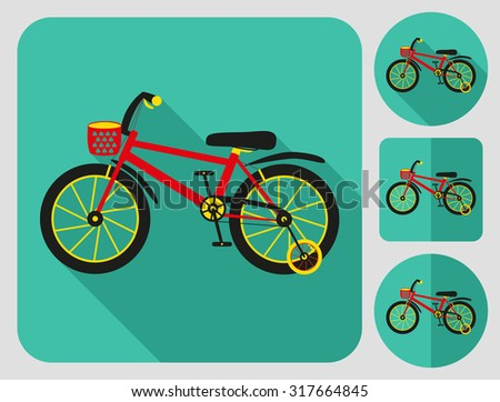 Kids bike icon. Flat long shadow design. Bicycle icons series. - stock vector