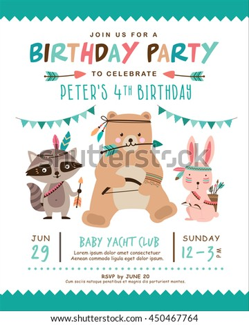 Kids birthday invitation card cute cartoon stock vector 450467764 kids birthday invitation card with cute cartoon animal bookmarktalkfo Image collections
