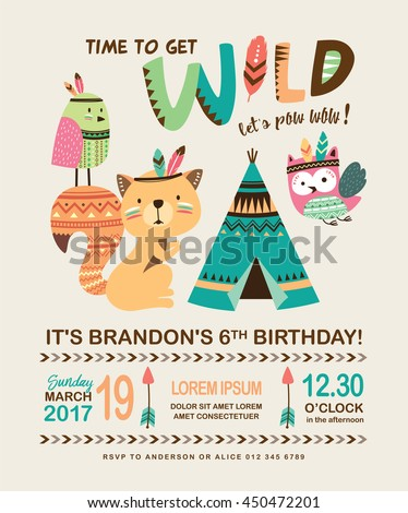 Kids birthday invitation card cute cartoon stock vector 450472201 kids birthday invitation card with cute cartoon animal stopboris Images