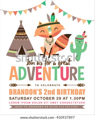 Kids birthday invitation card cute cartoon stock vector 450937897 kids birthday invitation card with cute cartoon animal stopboris Images